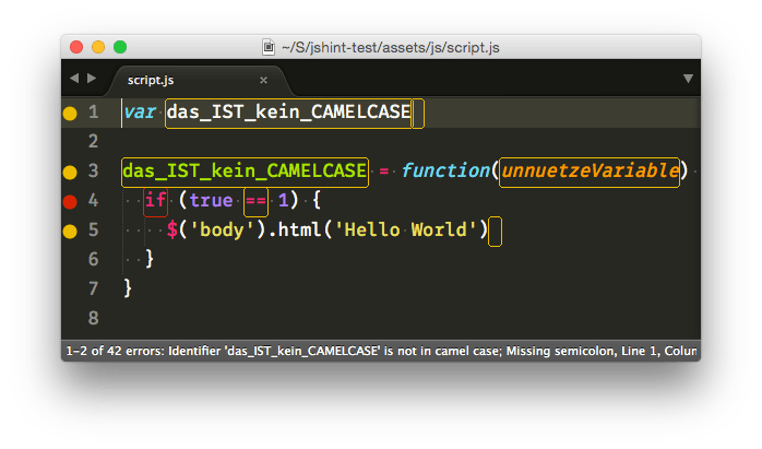 JSHint-Beispiel in Sublime Text